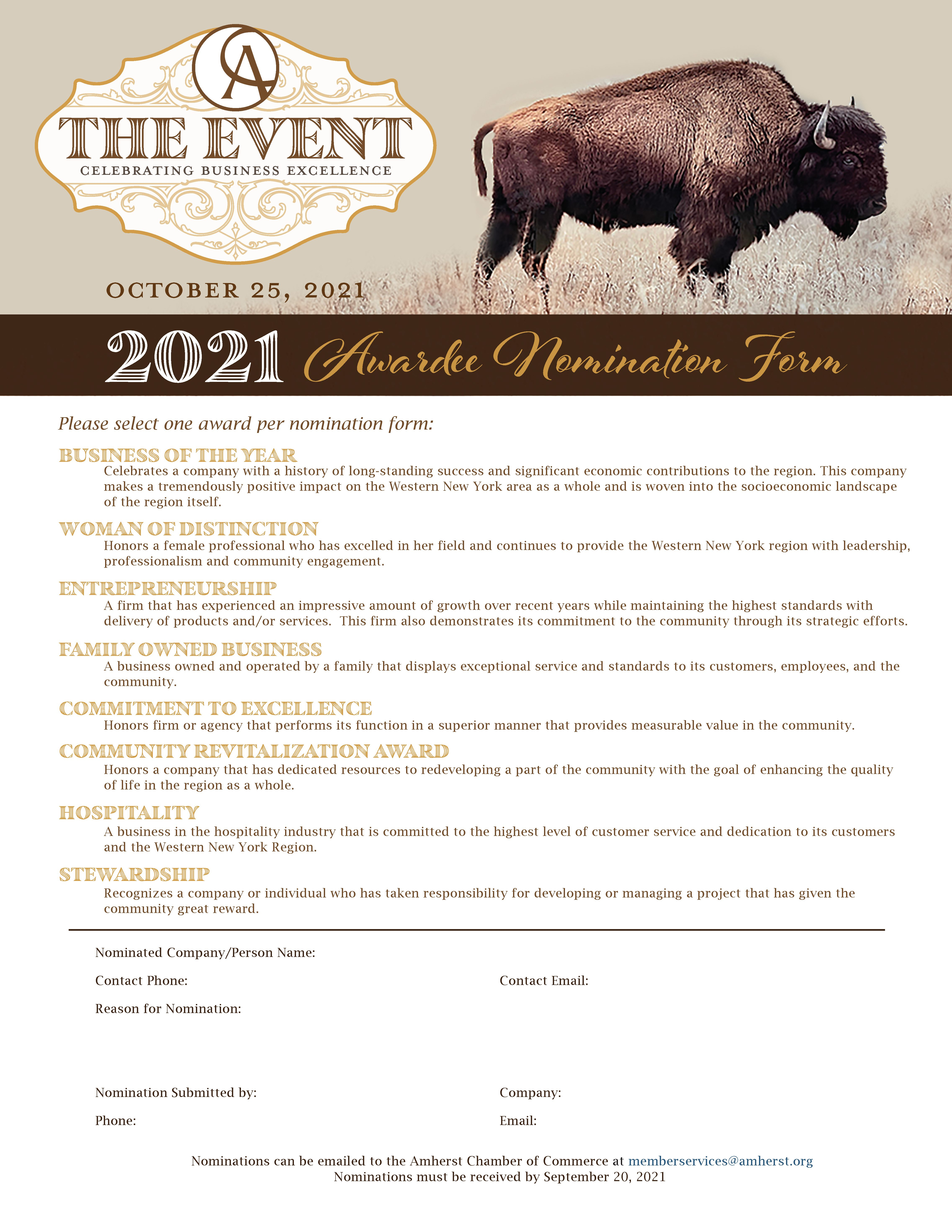 The Event 2021 Awardee Nomination Form