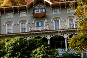 Up close shot of Asa Packer Mansion in Jim Thorpe, PA