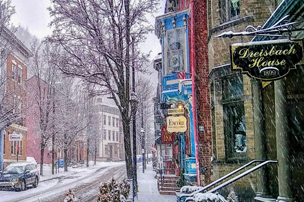 Snowy shopping day on Broadway in downtown Jim Thorpe, PA.