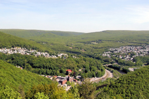 View of Jim Thorpe from Flagstaff Mountain in spring or summer