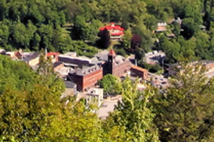 Close up aerial view of Jim Thorpe in spring
