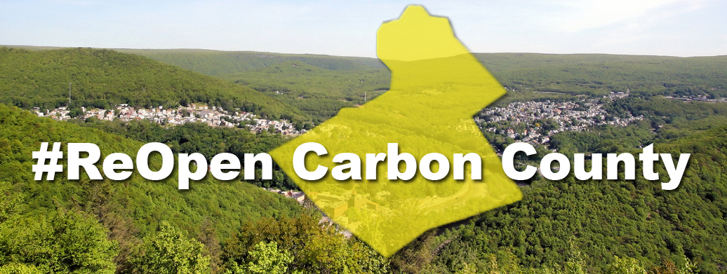 ReOpen Carbon County with yellow shape of Carbon County and green mountain background header