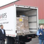 Sharps Compliance, Inc. has made a substantial donation of personal protective equipment to area first responders and St. Luke's University Health Network March 20th, 2020. A truck with the supplies arrived from a Sharps facility in Houston, Texas, last night to Sharps location in Nesquehoning, PA. From there, the box truck was driven to Carbon County Emergency Management for storage and distribution. St. Luke's courier, Jeff Ferry, loaded the supplies into a van for transport to the St. Luke's University Health Network. Of the donation, St. Luke's received the majority of the 2,700 masks, 3,700 gowns and 1,500 gloves.