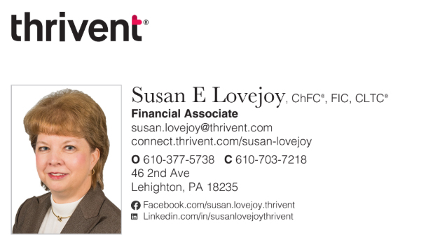 Thrivent Susan E Lovejoy contact card