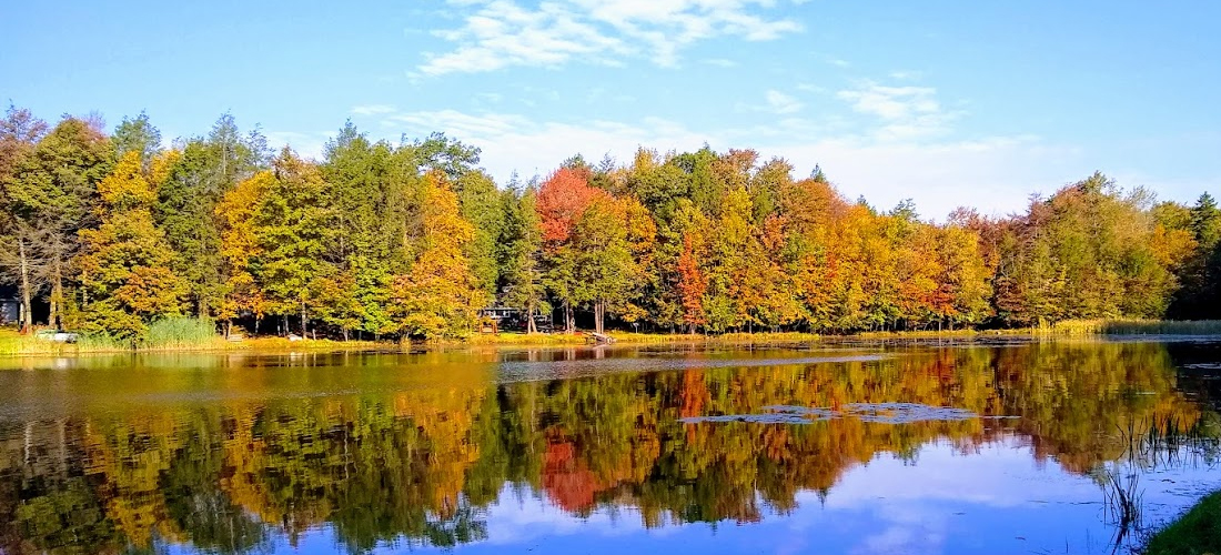 Private lake in Carbon County during Autumn