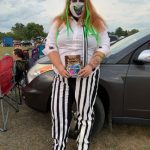 Woman dressed as Beetlejuice