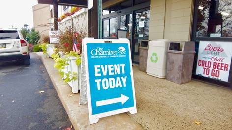Chamber event today sign