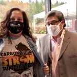 Marlyn Kissner and Chris Barrett wearing masks and Carbon County Strong