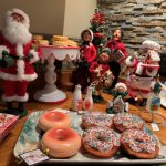 Christmas display and donuts at Jingle Bells Deck the Halls Sip & Shop
