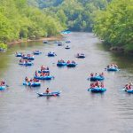 Whitewater rafters in river