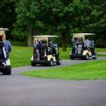 Multiple golf carts along path