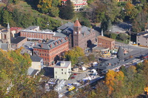 Aerial view of downtown Jim Thorpe in fall