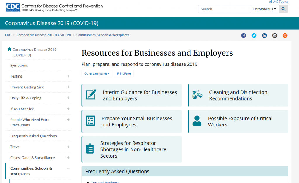 Resources for Businesses and Employers (CDC)