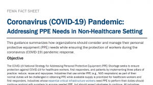 FEMA Guidance on PPE Needs in Non-Healthcare Setting