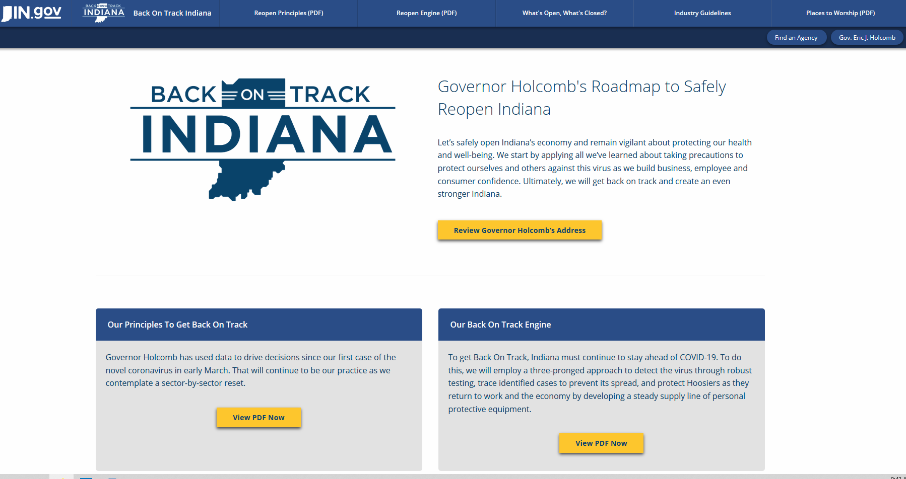 Back on Track Indiana - Gov. Holcomb's Roadmap to Safely Reopen Indiana