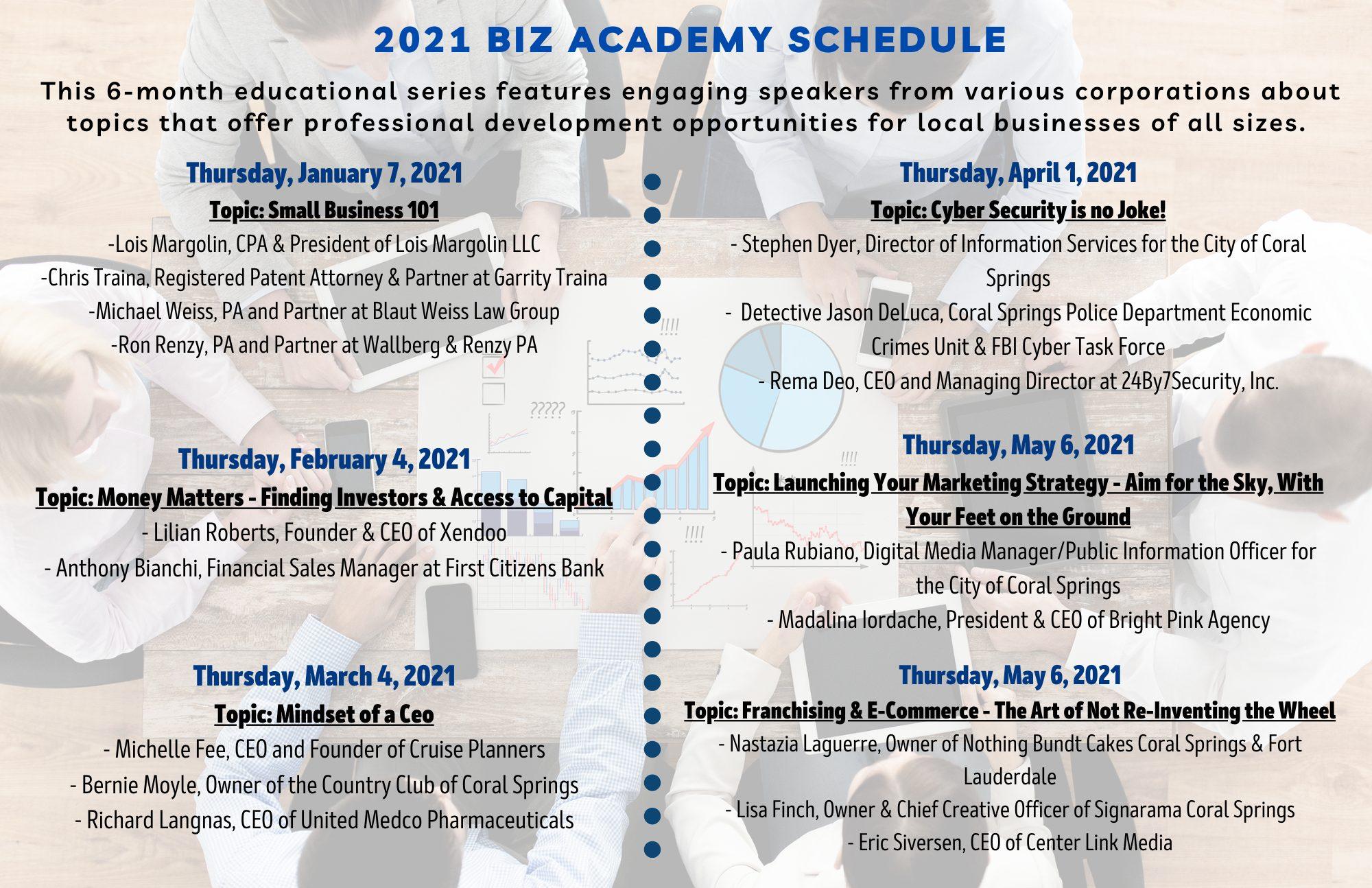 2021 Biz Academy Schedule