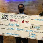DineYQG Week 1 winners, John Max Sports & Wings with Chamber President, Rakesh Naidu & CUPE543 President David Petten