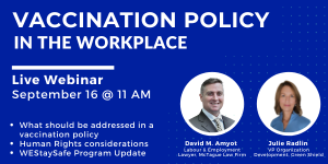 Vaccination Policy in the Workplace - Webinar Banner