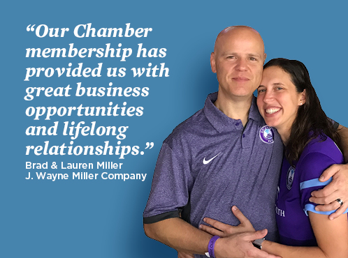 Image of Brad and Lauren Miller with text: Our chamber membership has provided us with great business opportunities and lifelong relationships. Brad and Lauren Miller, J.Wayne Miller Company