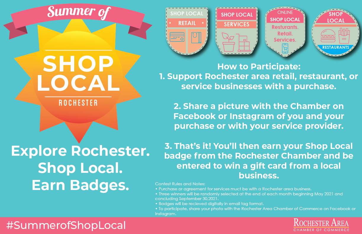 Shop Local Summer Poster Colorful with Badges Horizontal-01