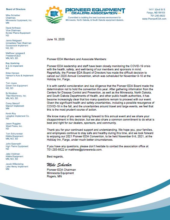 PIONEER EDA CONVENTION - 2020 - CANCELLATION LETTER - IMAGE