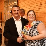 Jessica Morris is presented with the Community Volunteer of the Year award by Coweta Chamber President Jake Dwyer.  PHOTO COURTESY OF BRITTANY LEIGH PHOTOGRAPHY
