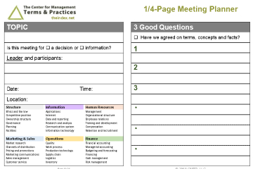 CMTP 1-4 Page Meeting Planner
