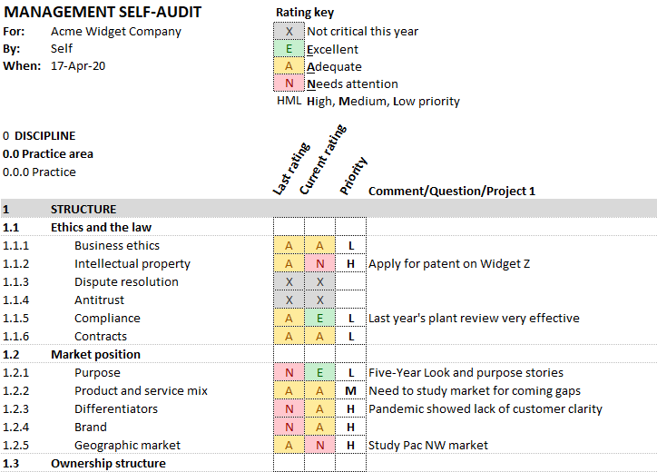 CMTP Management Self Audit