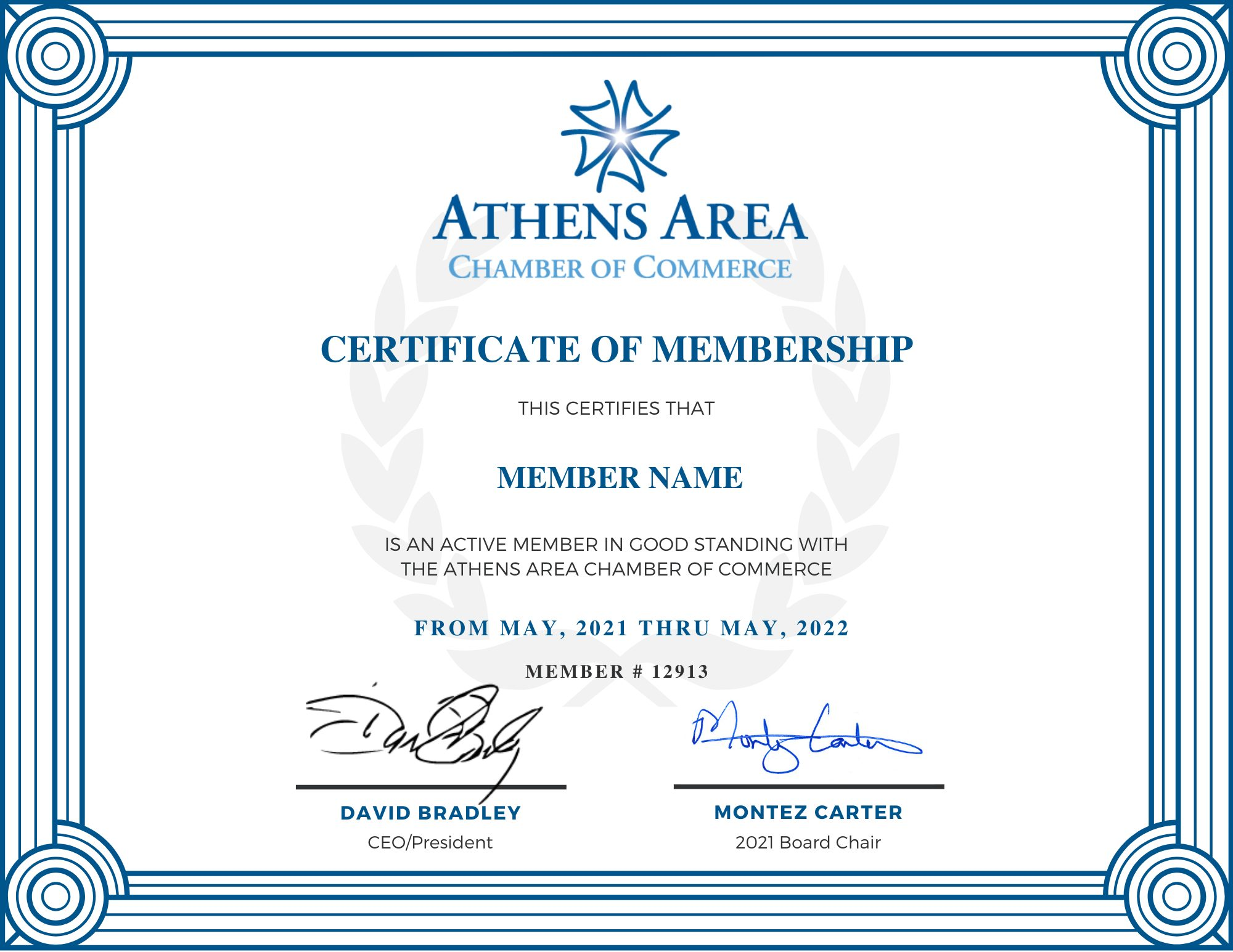 Copy of AACOC Certificate of Membership