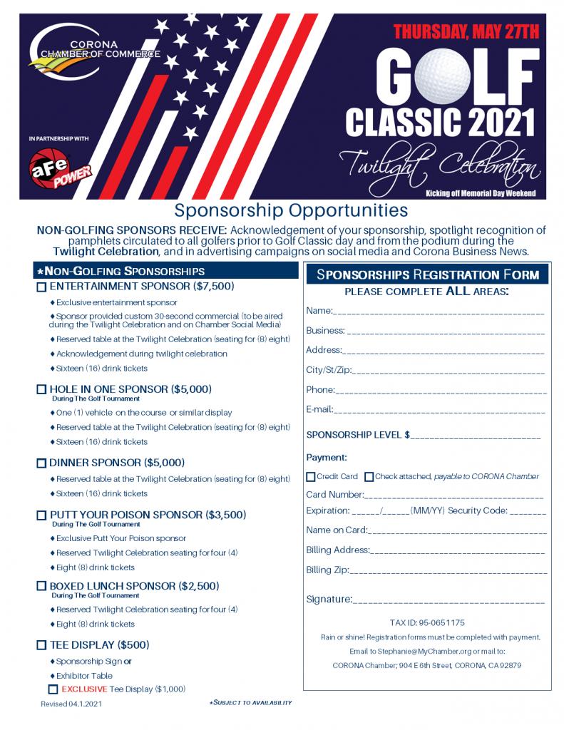 2021 GOLF Classic Sponsorship NON Golf Form May 27, 2021 (Rev 03.29.2021) - Copy