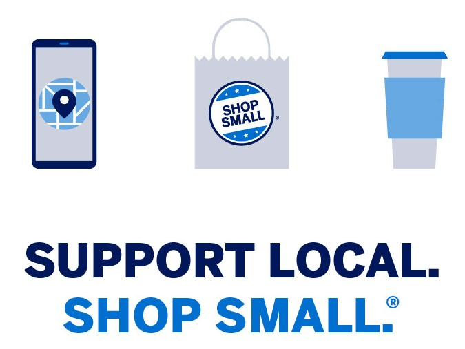 Graphic that says 'support local, shop small' accompanied with an image of a phone, cup, and shopping bag