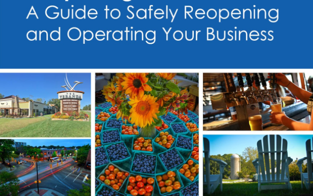 "A collage of images with the title ""a guide to safely reopening and operating your business"""