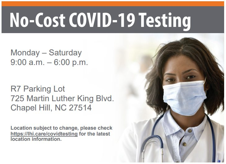 A graphic detailing no-cost COVID testing in Chapel Hill