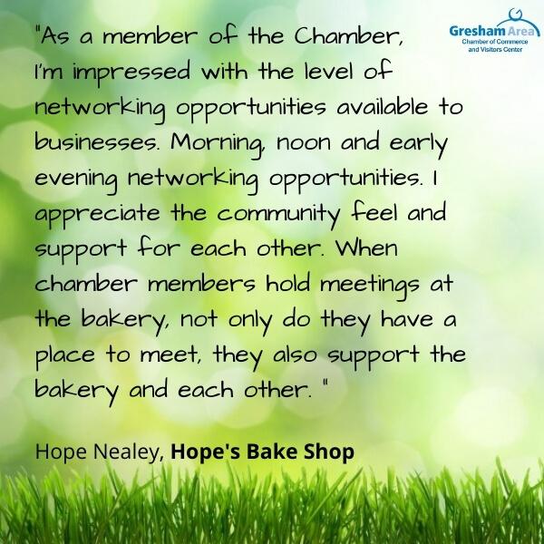 Gresham Area Chamber of Commerce Testimonial from Hope's Bake Shop