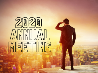 Man Looking Over City with 2020 Annual Meeting event title