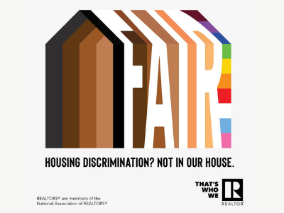 House with shades of brown and rainbow with the word fair in white-text says housing discrimination not in our house