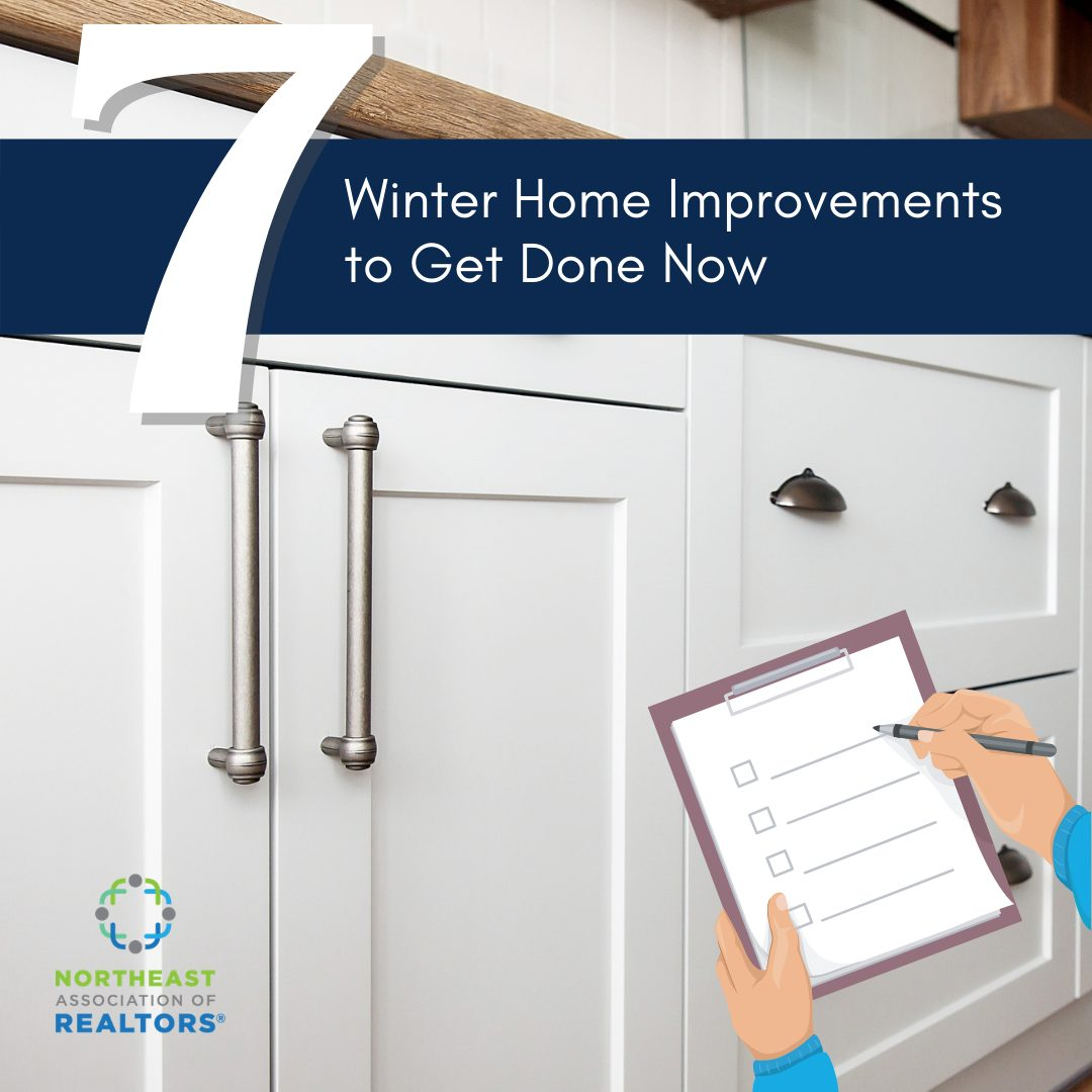 https://www.houselogic.com/remodel/remodeling-tips-advice/winter-home-improvement-projects image of kitchen cabinets and graphic of hands with pencil and checklist