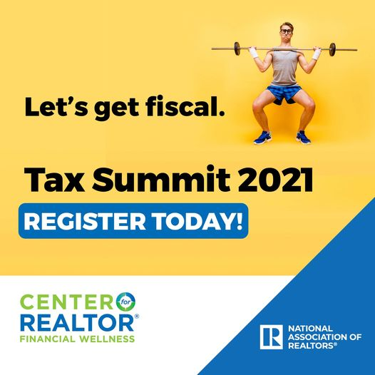 Image of man weight lifting and register button to sign up for NAR tax summit 2021