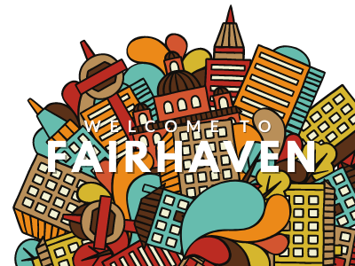 Welcome to Fairhaven with clipart ofhouses and buildings
