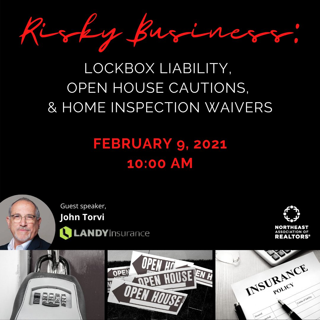 Risky Business Text with Images of Speaker John Torvi, a lock box, Open House Signs, and Insurance document