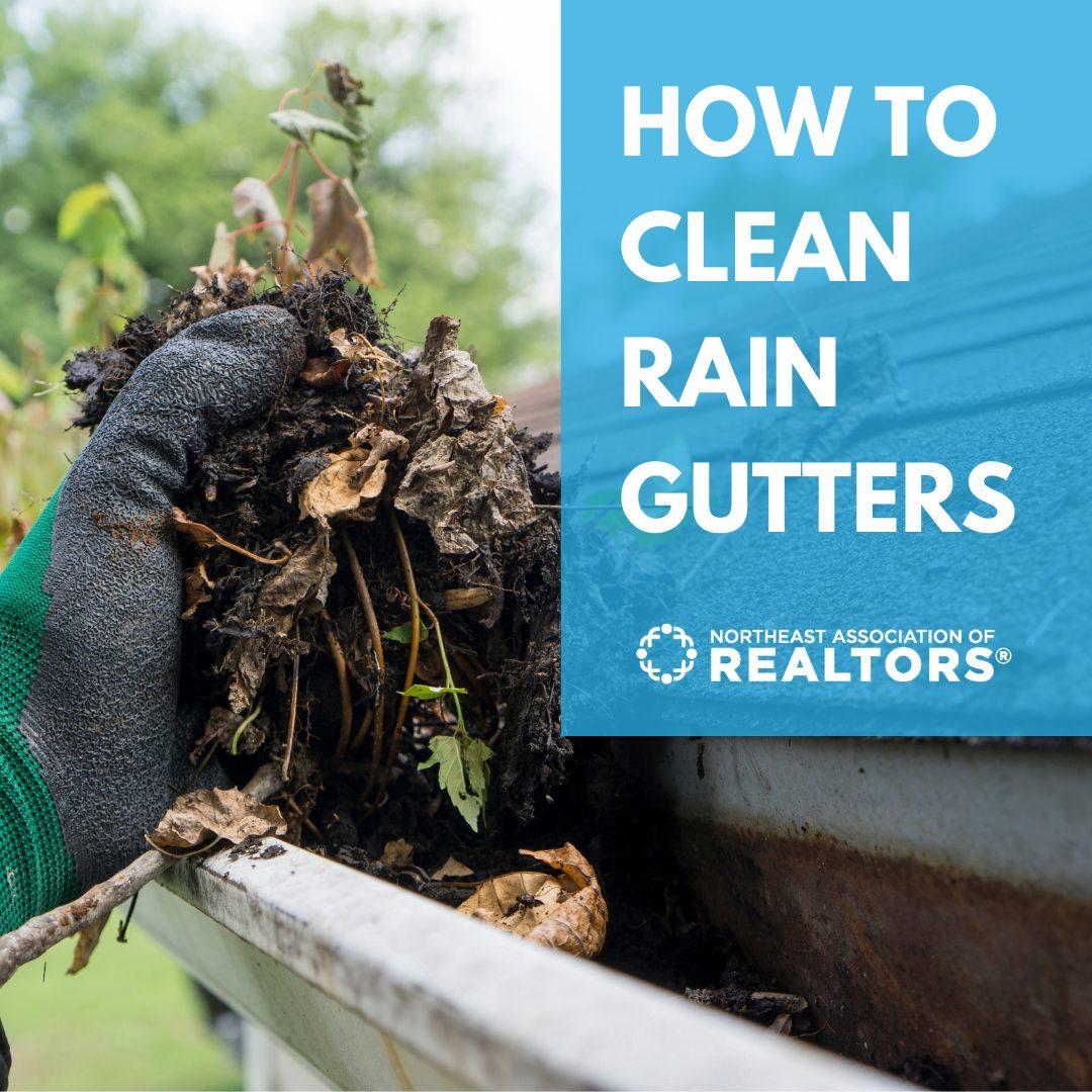 Gloved hand pulling leaf debris from rain gutter