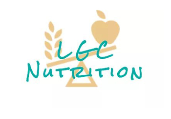 company logo for LGC Nutrition balance scale with apple and wheat images