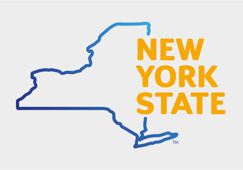 New York State logo with outline of state