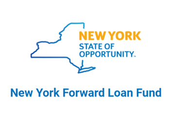 New York state outline and New York Forward Loan Fund logo