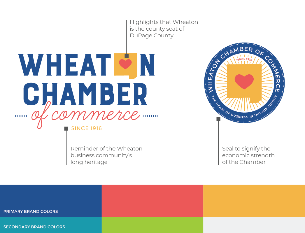 Wheaton Chamber's new logo, seal and brand colors