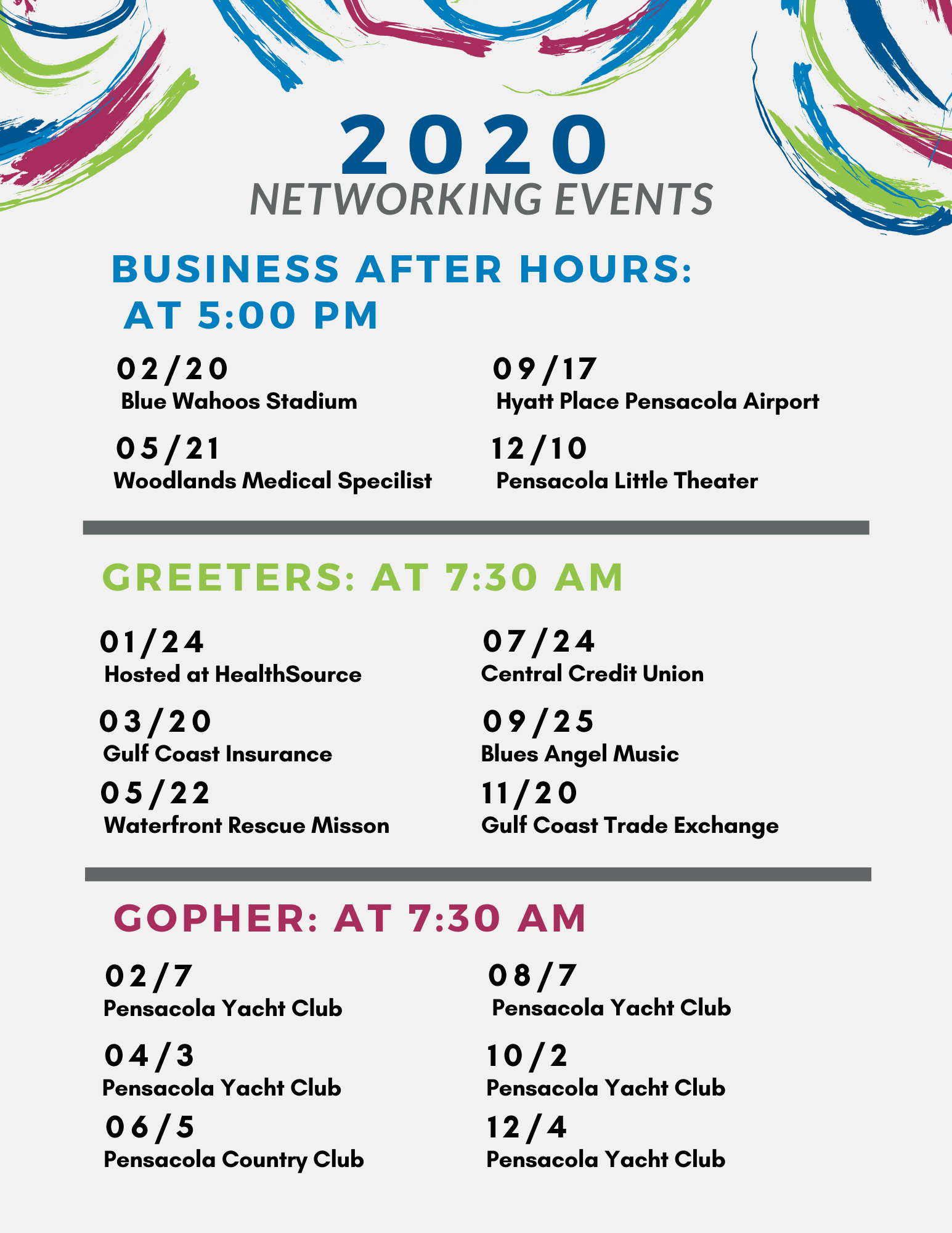2020 Networking events