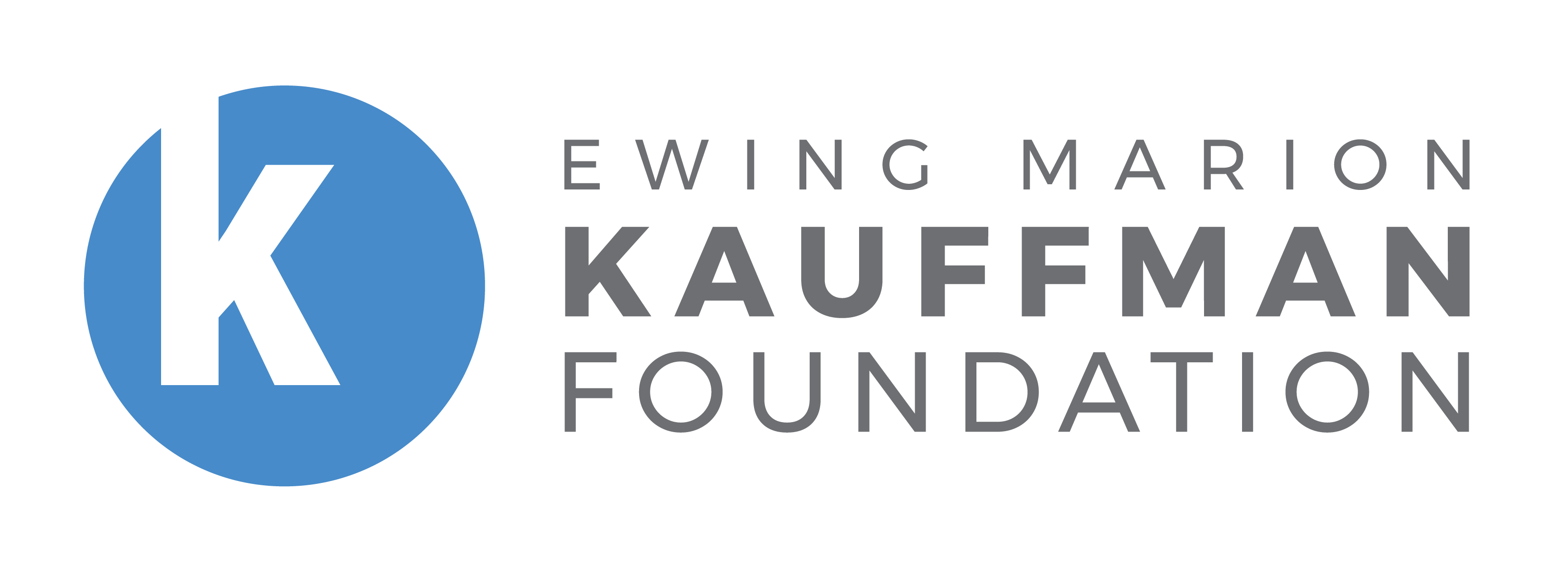 light blue circle with white k in upper left thirdEwing Marion Kauffman Foundation stacked on right side of logo