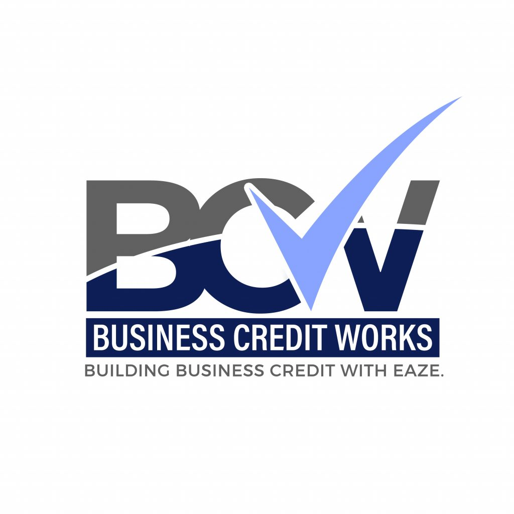 Business Credit Works Logo Blue and Grey B C V with a lavender checkmark through the middle