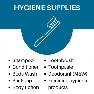Hygenine Supplies Image Listing Shampoo conditioner body wash bar soap body lotion toothbrush toothpast deodorant feminine hygiene products
