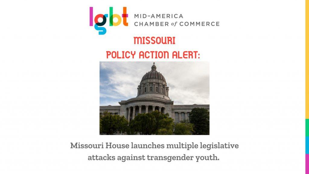 Missouri Capitol with headline Missouri House launches multiple legislative attacks against transgender youth